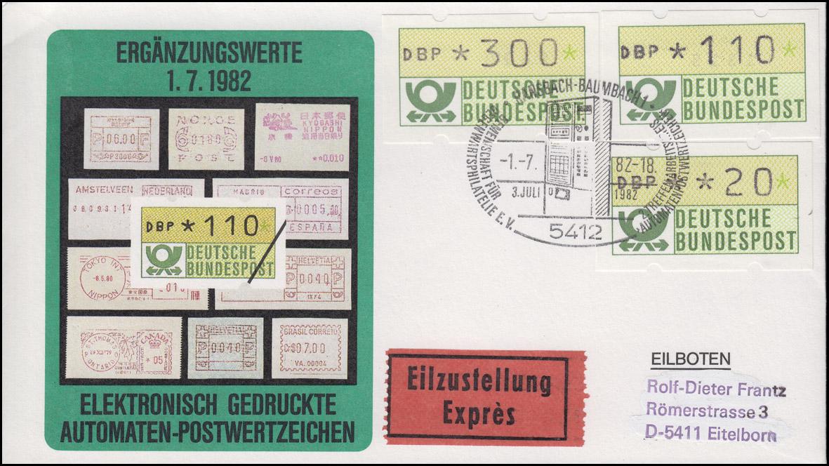 1.1  Drei ATM-Ergänzungswerte 20+110+300 Pf auf Eil-FDC Ransbach ESSt 1.7.82
