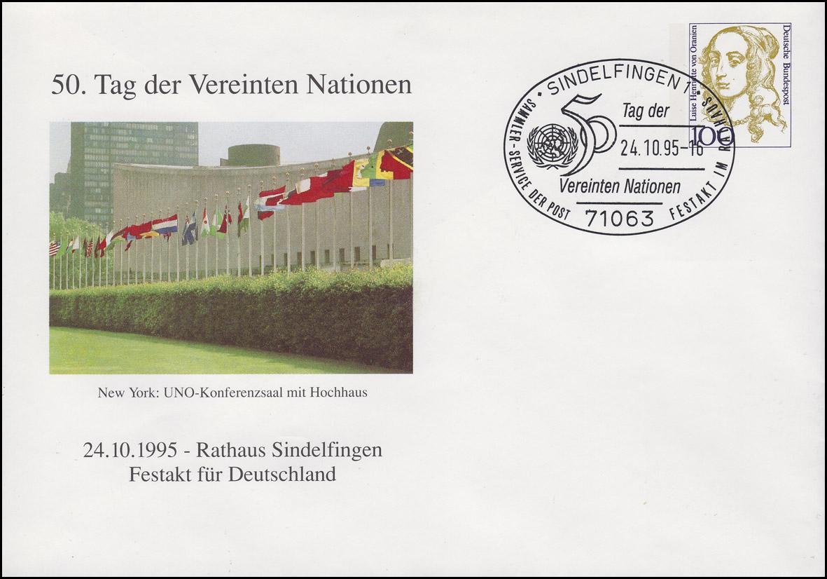 PU 350 Frauen 100 Pf Vereinte Nationen, SSt Sindelfingen 50 Jahre UNO 24.10.1995