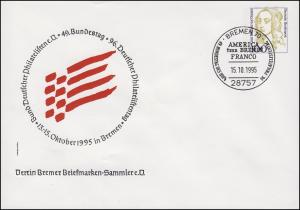 PU 350 Frauen 100 Pf 49. Bundestag / 96. Philatelistentag, SSt Bremen 15.10.1995