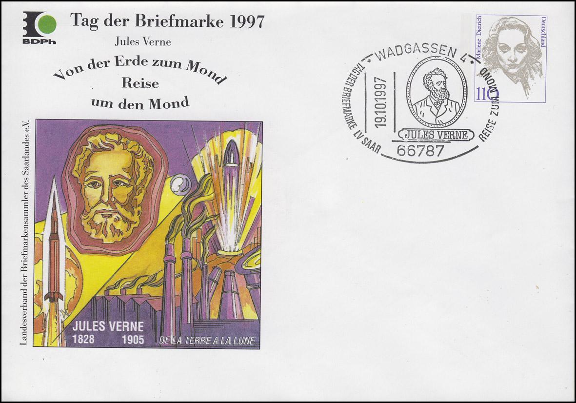 PU 351 Frauen 110 Pf Tag der Briefmarke, SSt Wadgassen Jules Verne 19.10.1997