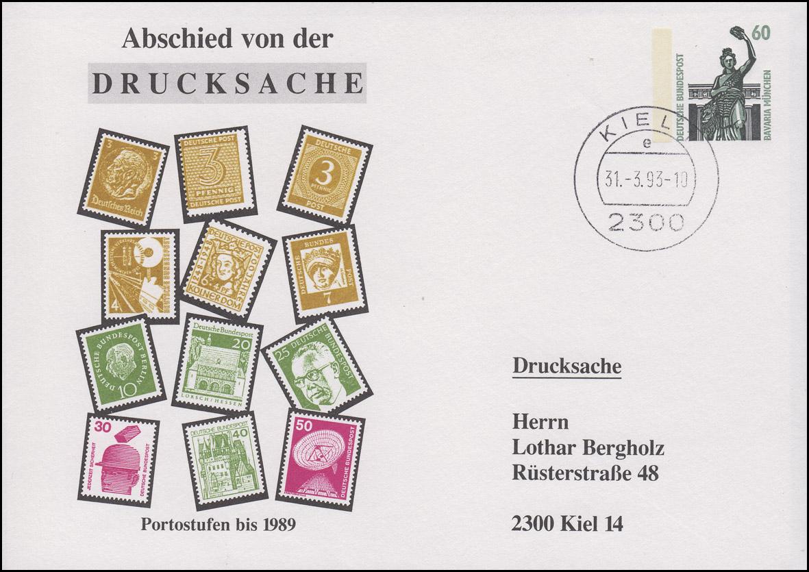 PU 286/17 Aschied von der Drucksache - Portostufen bis 1989, KIEL 31.3.93