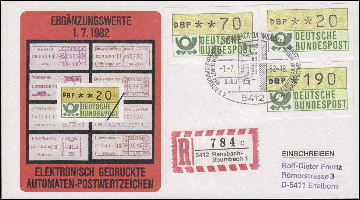 1.1  Drei ATM-Ergänzungswerte 20+70+190 Pf auf Schmuck-R-FDC ESSt 1.7.1982