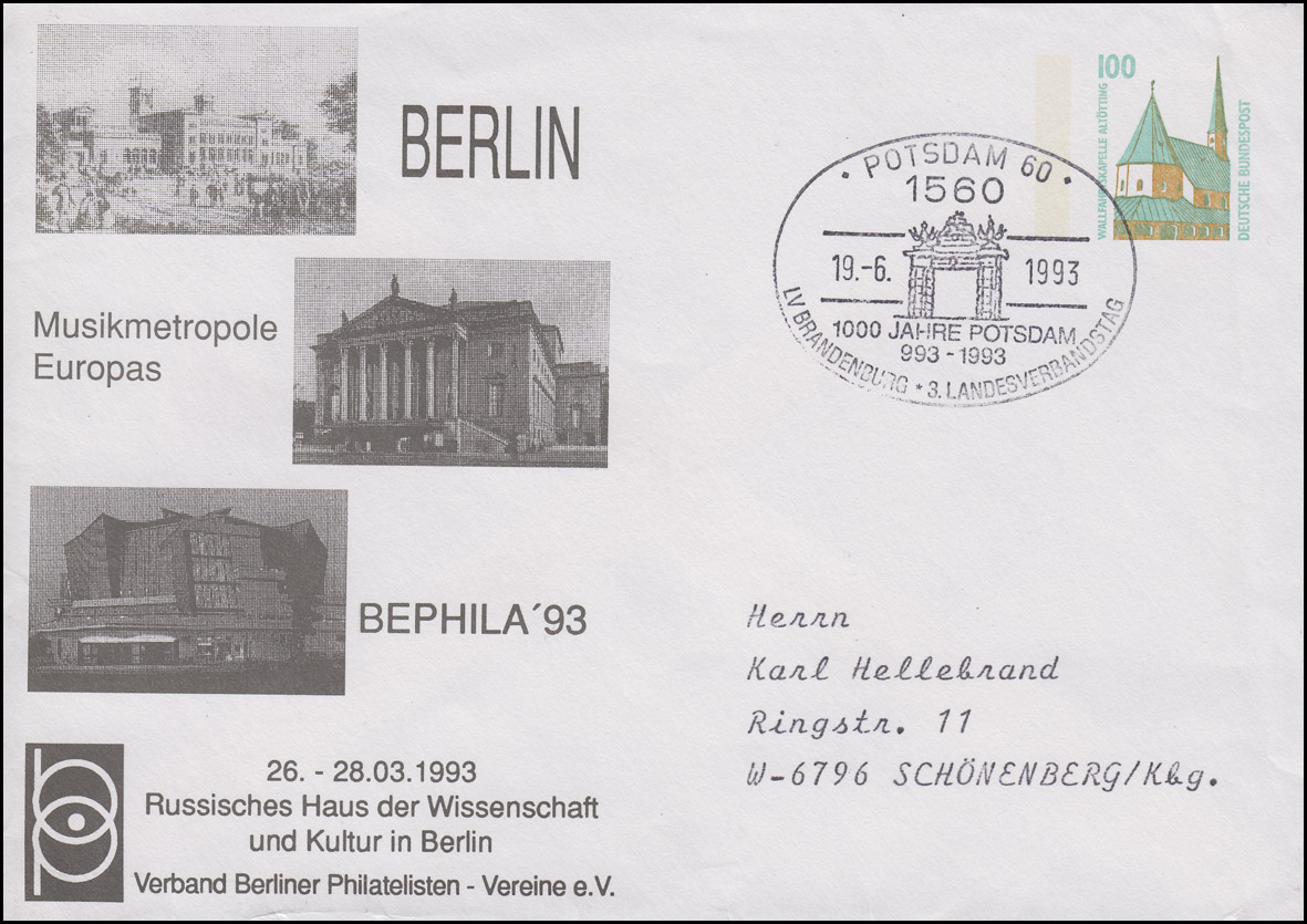 PU 290 BEPHILA Musikmetropole Europas, SSt Berlin 19.6.1993 nach Schönenberg