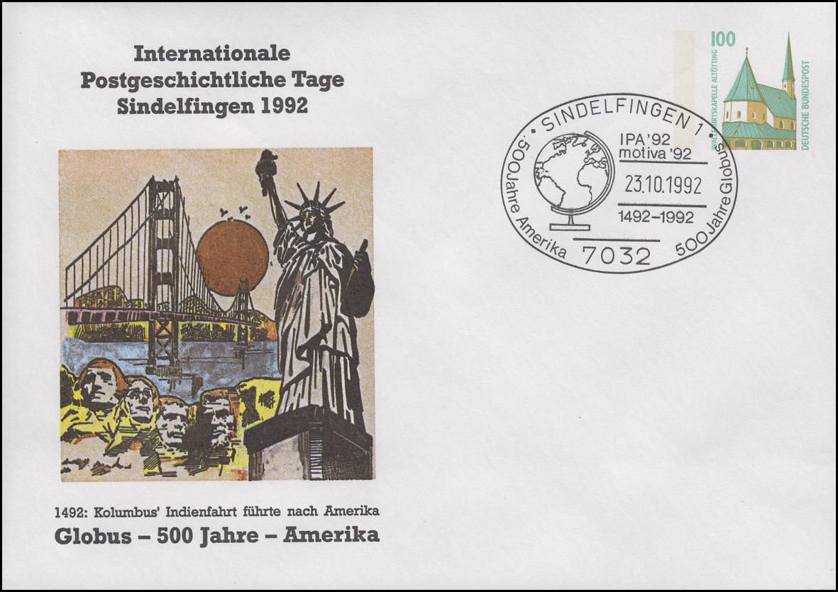 PU 290 Postgeschichtliche Tage Sindelfingen, SSt Sifi Globus Amerika 23.10.1992