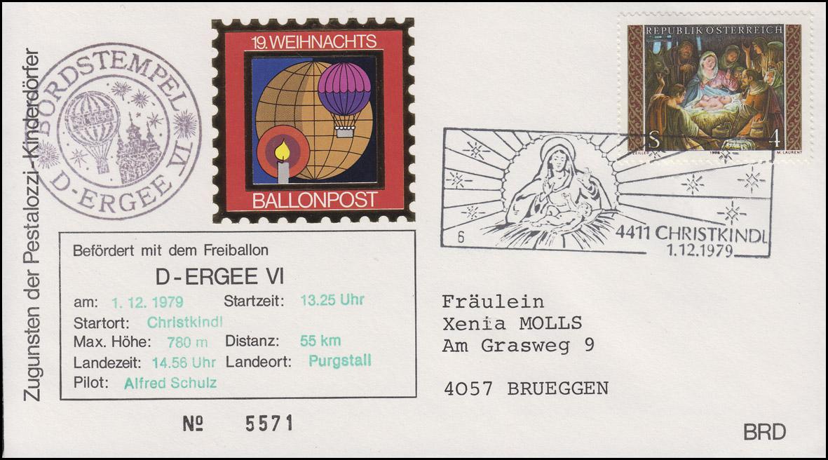 19. Weihnachts-Ballonpost Christkindl 1.12.1979 Landeort Purgstall Pilot Schulz