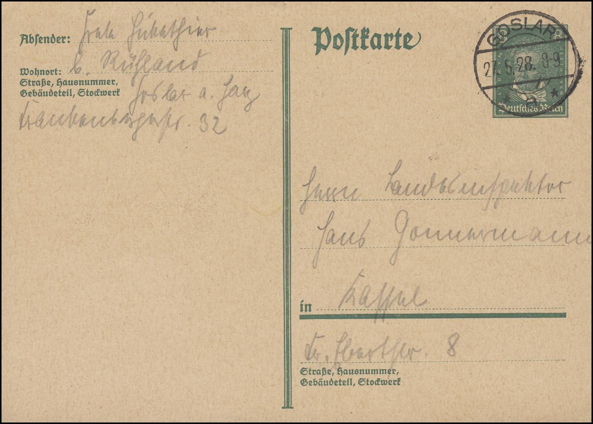 Postkarte P 176I Beethoven 8 Pf. von GOSLAR a - 27.5.28 nach Kassel