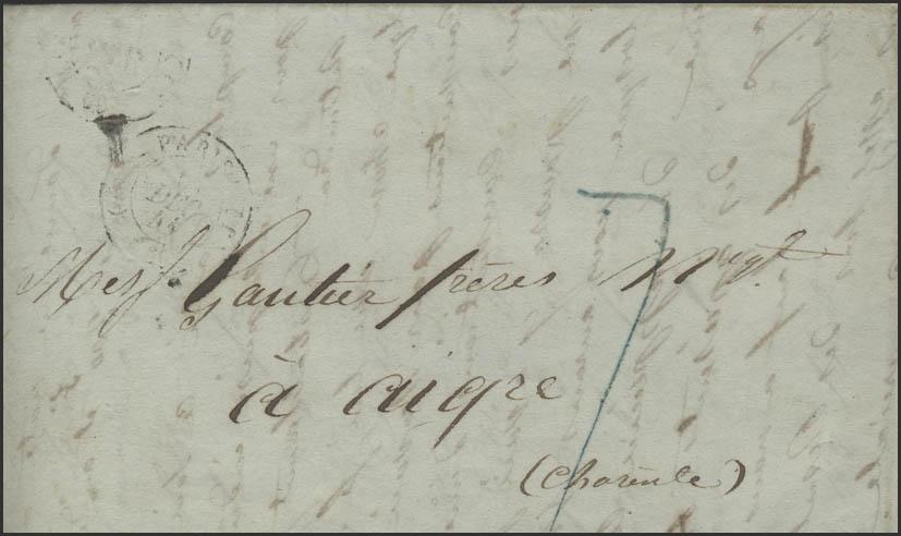 Frankreich Vorphilatelie Faltbrief Paris 6.12.41 nach Aigre 8.12.1841