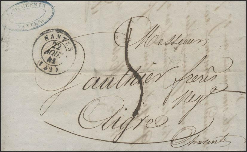 Frankreich Vorphilatelie Faltbrief Nantes 22.8.41 nach Aigre 28.8.1841