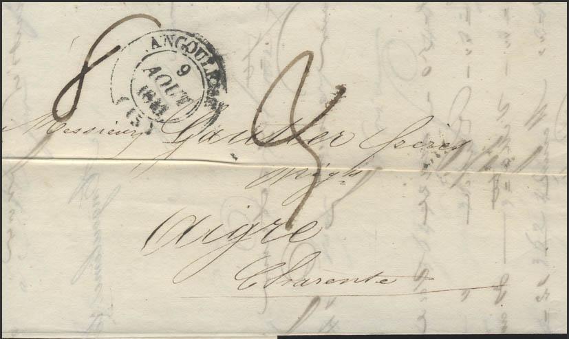 Frankreich Vorphilatelie Faltbrief Angoulême 9.8.1841 nach Aigre 11.8.1841