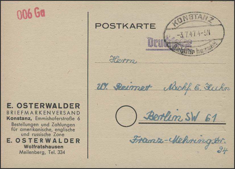 Gebühr-Bezahlt-Stempel Postkarte Konstanz 3.7.47 nach Berlin