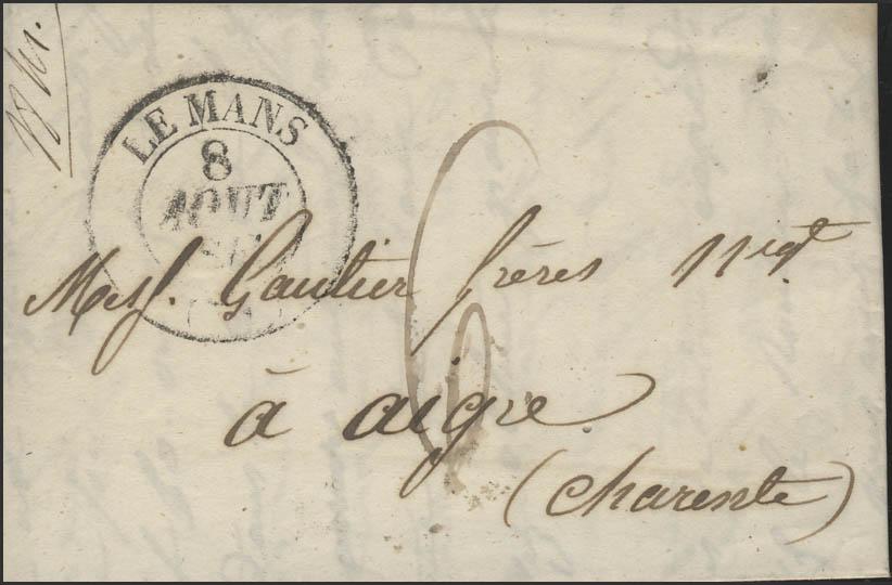 Frankreich Vorphilatelie Faltbrief Le Mans 8.8.41 nach Aigre 9.8.1841