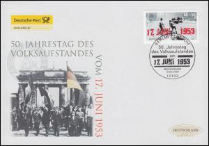 2342 Volksaufstand in der DDR 17. Juni 1953, Schmuck-FDC Deutschland exklusiv