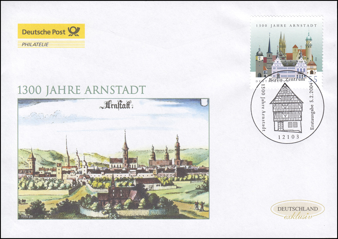 2388 Jubiläum 1300 Jahre Arnstadt, Schmuck-FDC Deutschland exklusiv