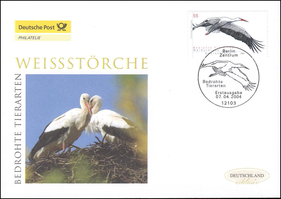 2393 Bedrohte Tiere - Weißstorch, Schmuck-FDC Deutschland exklusiv
