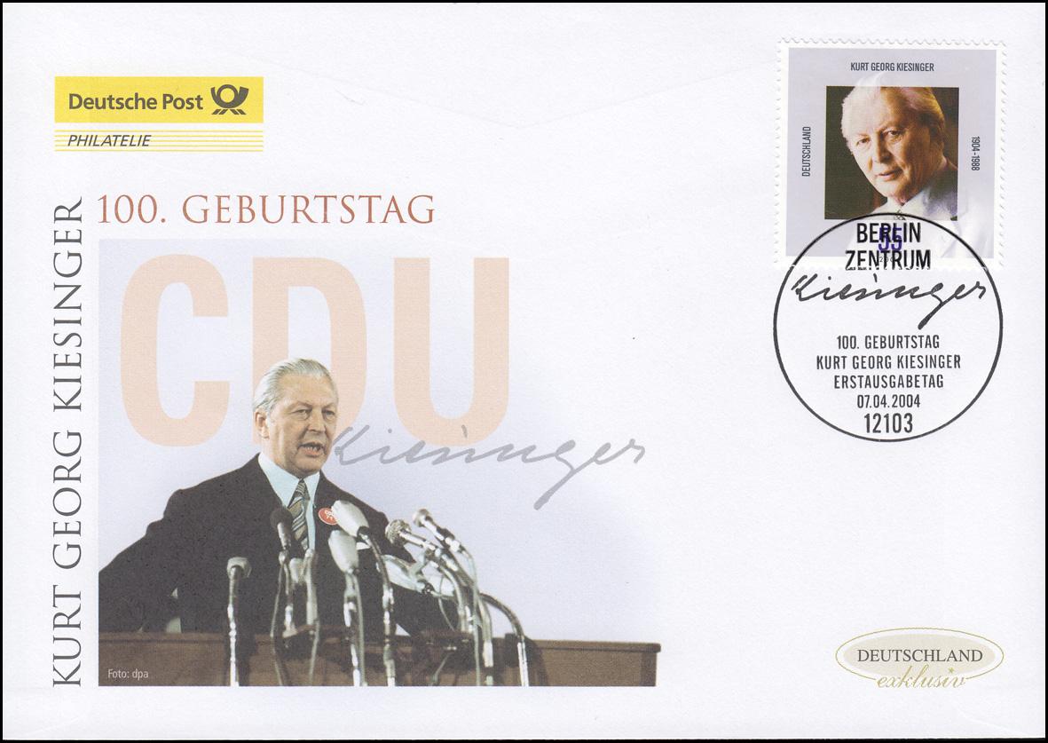 2396 Bundeskanzler Kurt Georg Kiesinger, Schmuck-FDC Deutschland exklusiv