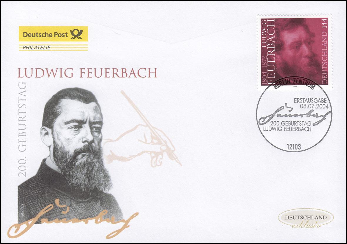 2411 Philosoph Ludwig Feuerbach, Schmuck-FDC Deutschland exklusiv