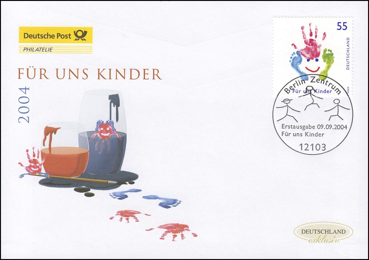 2418 Für uns Kinder - Buntes Gesicht, Schmuck-FDC Deutschland exklusiv