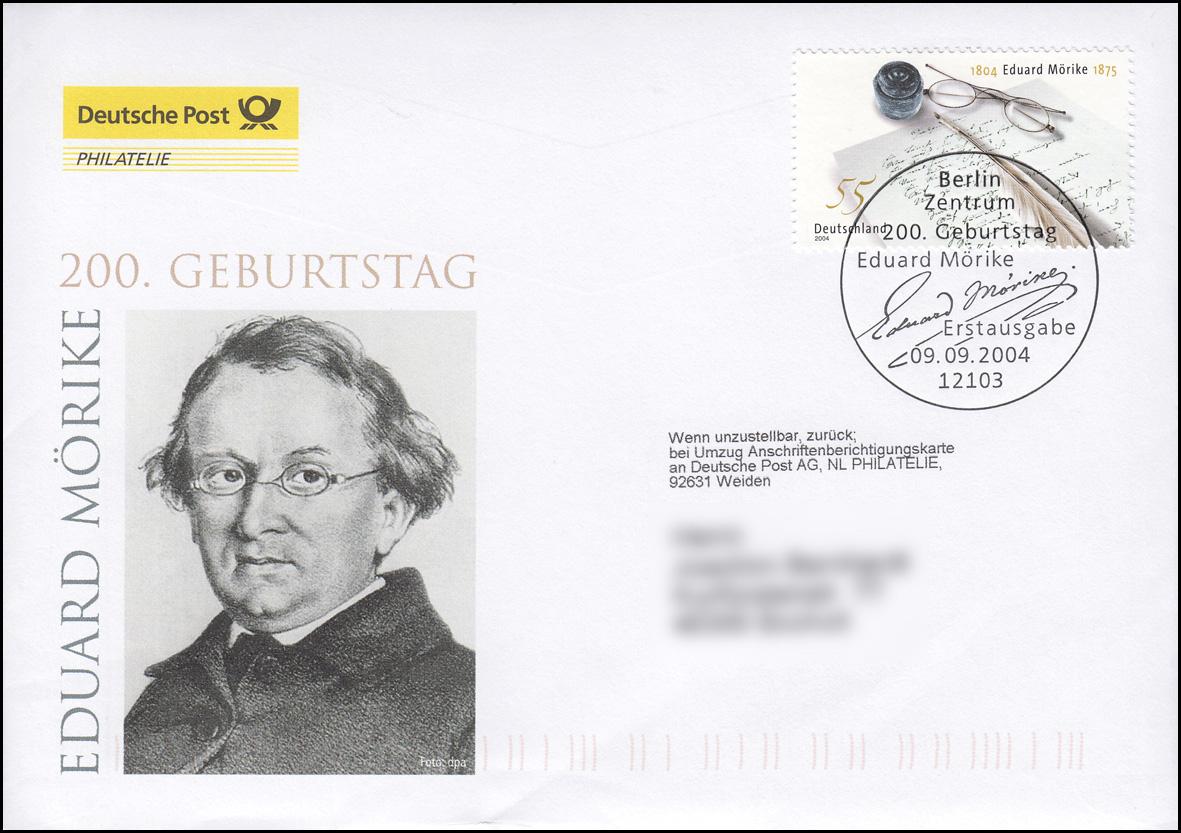 2419 Schriftsteller Eduard Mörike, Schmuck-FDC Deutschland exklusiv