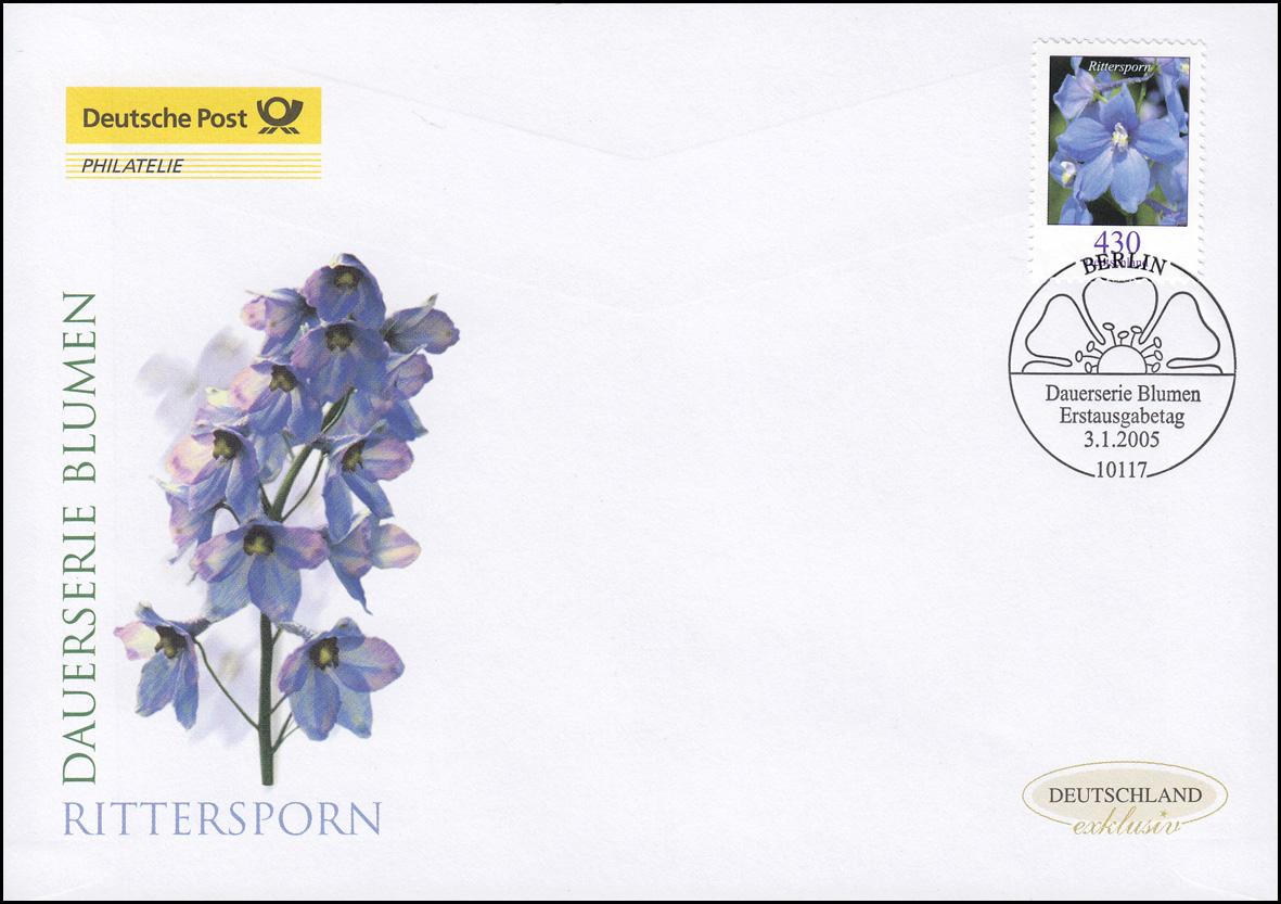 2435 Blume Feldrittersporn 430 Cent, Schmuck-FDC Deutschland exklusiv