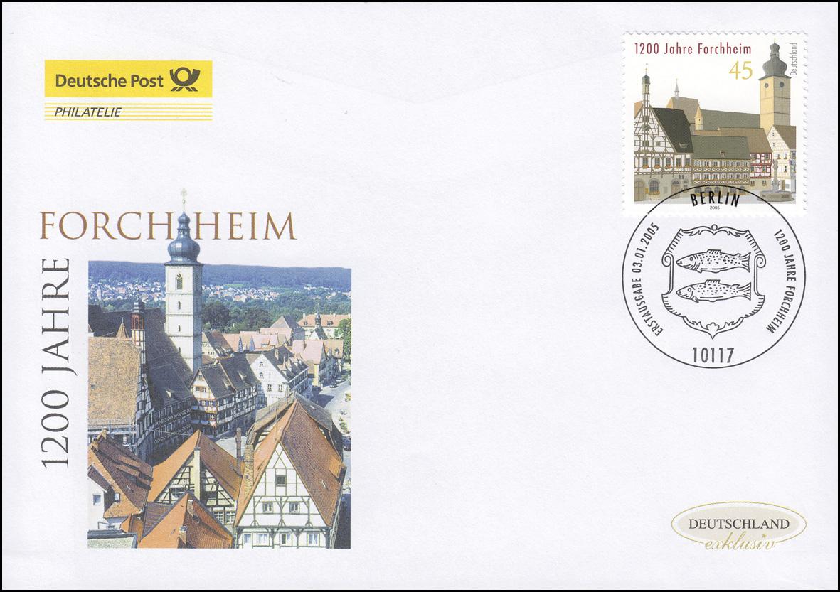 2438 Jubiläum 1200 Jahre Forchheim, Schmuck-FDC Deutschland exklusiv