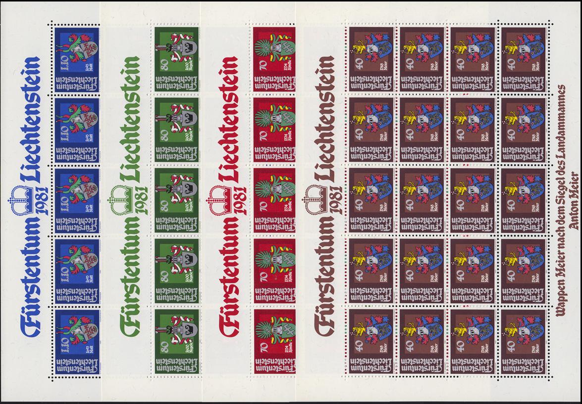 766-769 Wappen der Landammänner 1981, 4 Werte, Kleinbogen-Satz **