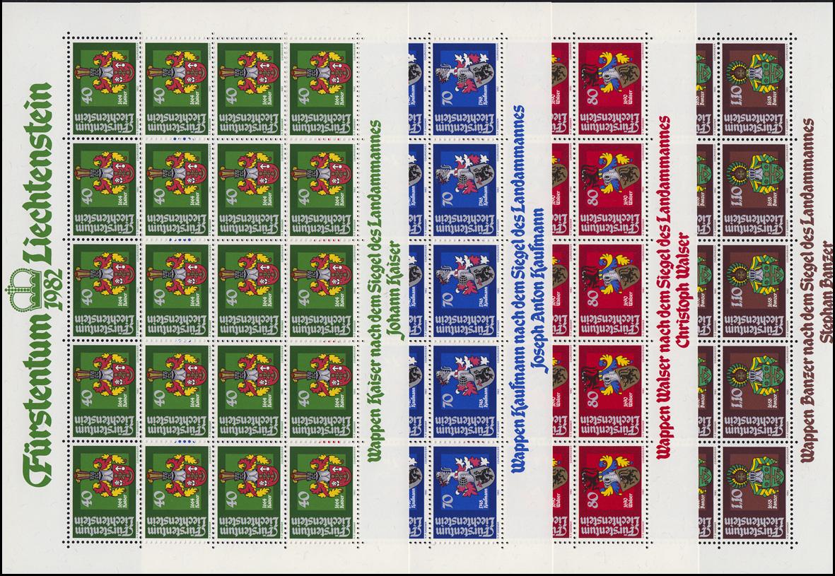 793-796 Wappen der Landammänner 1982, 4 Werte, Kleinbogen-Satz **