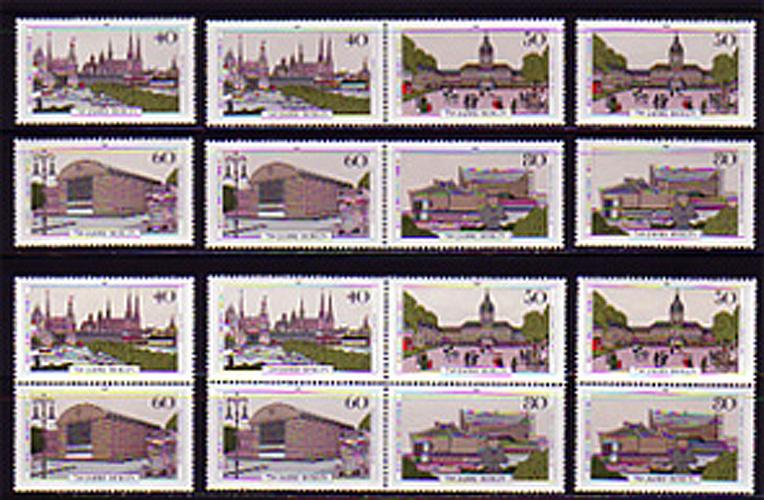 772-775 Berlin-Jubiläum aus Block 8: 5 Zusammendrucke und 4 Einzelmarken, Set **