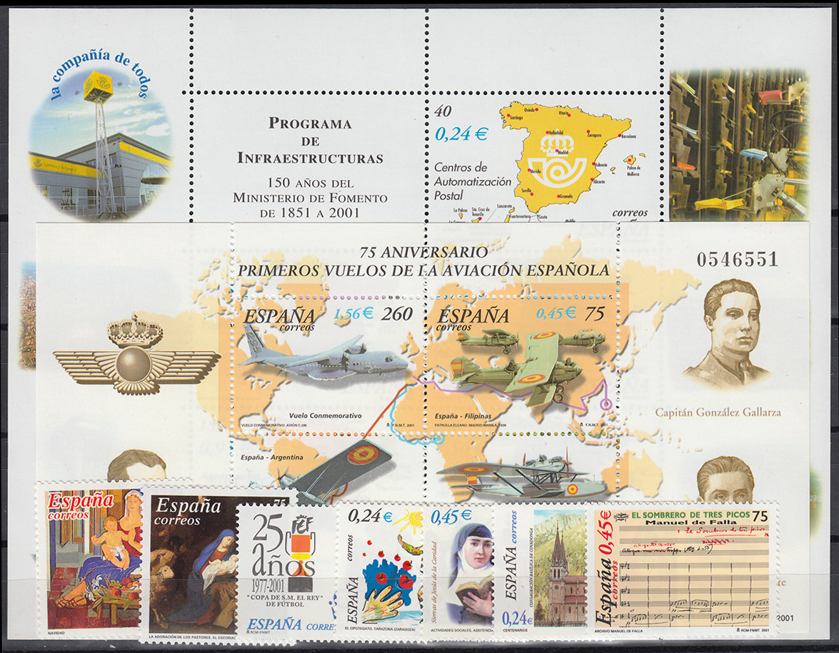 3609-3701 Spanien-Jahrgang 2001 mit Block 97-103 komplett, postfrisch ** 1