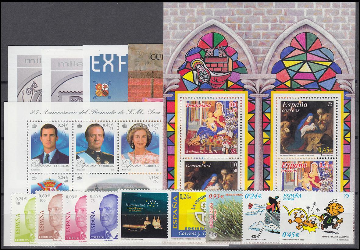 3609-3701 Spanien-Jahrgang 2001 mit Block 97-103 komplett, postfrisch ** 2