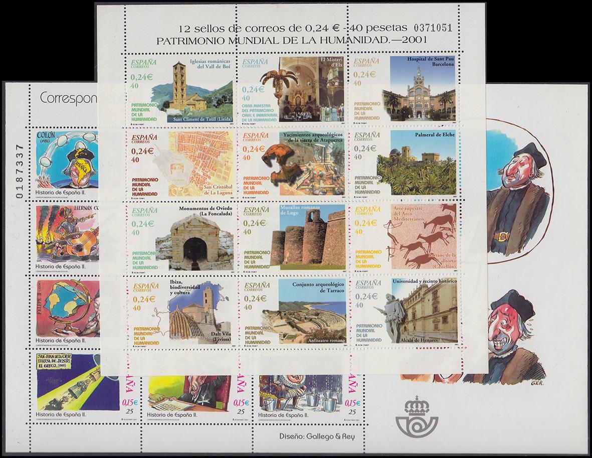 3609-3701 Spanien-Jahrgang 2001 mit Block 97-103 komplett, postfrisch ** 3