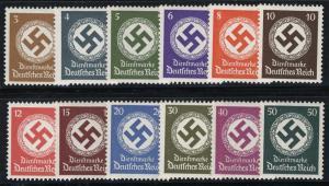 166-177 Hakenkreuz im Eichenkranz OHNE WZ, Satz 12 Werte ** / postfrisch / MNH