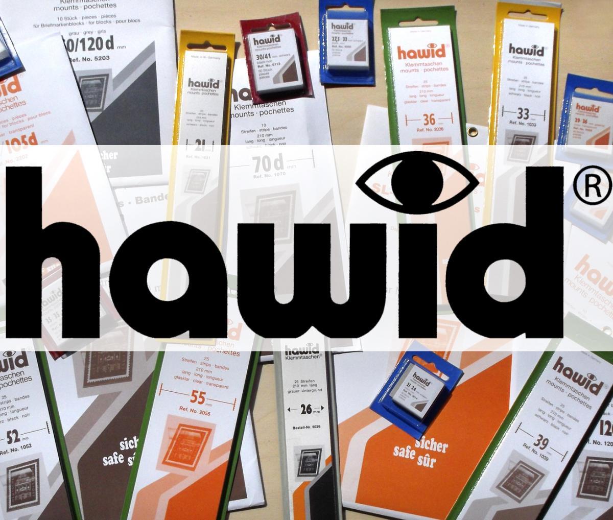 HAWID-Zuschnitte Klemmtaschen 24 x 29 mm, schwarz, 50 Stück, blaue Verpackung