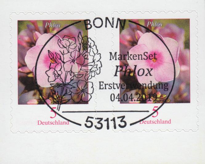 3459 Blume Phlox, selbstklebend aus FB 87, Paar mit EV-O Bonn 4.4.19