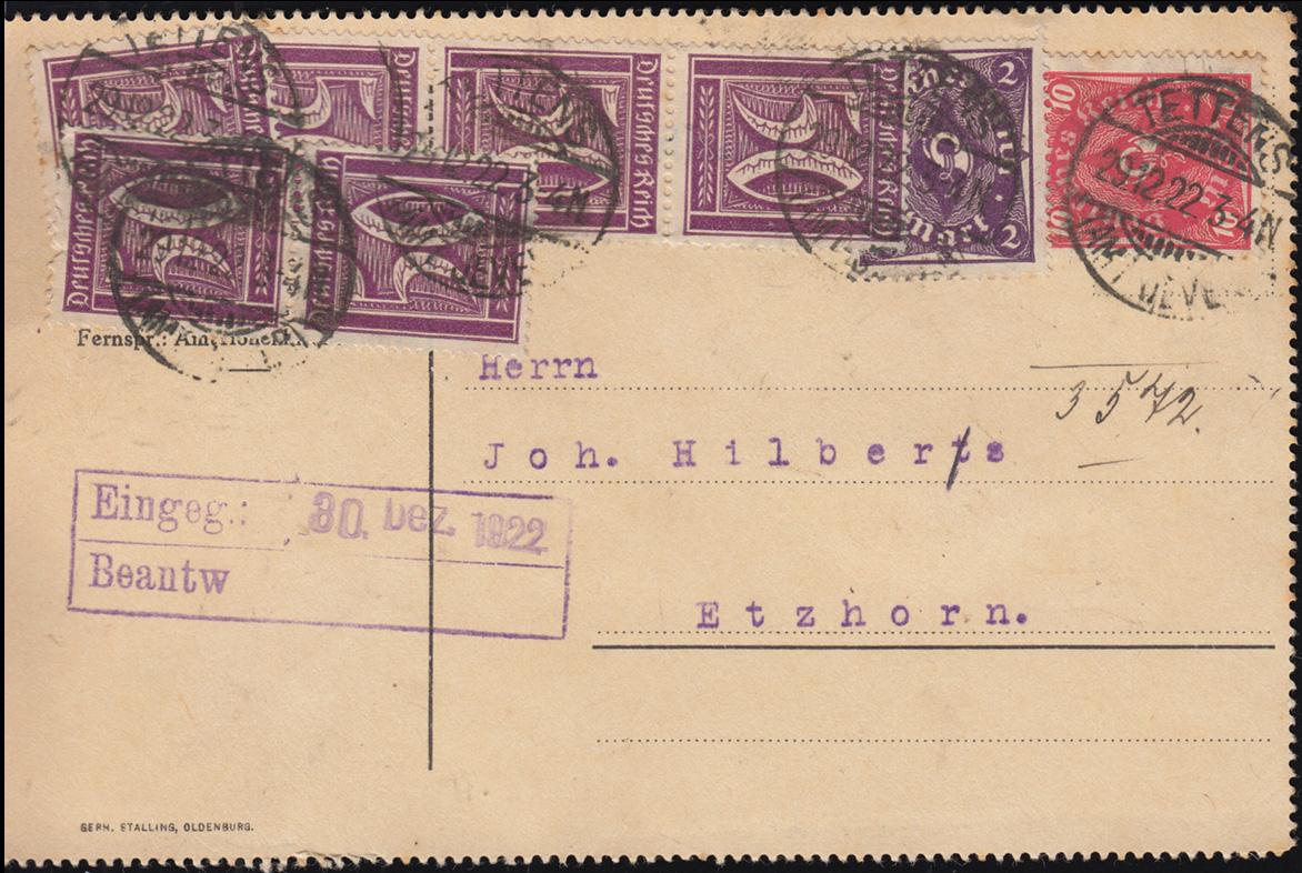 183+206+224 Infla-MiF auf Postkarte TETTENS (AMT JEVER) 29.12.23 nach Etzhorn