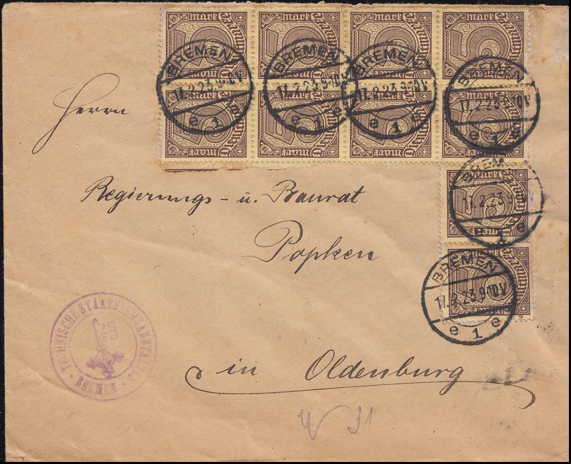 33a Dienstmarke 5 Mark portogerechte MeF auf Brief Staatslehramt BREMEN 17.2.23