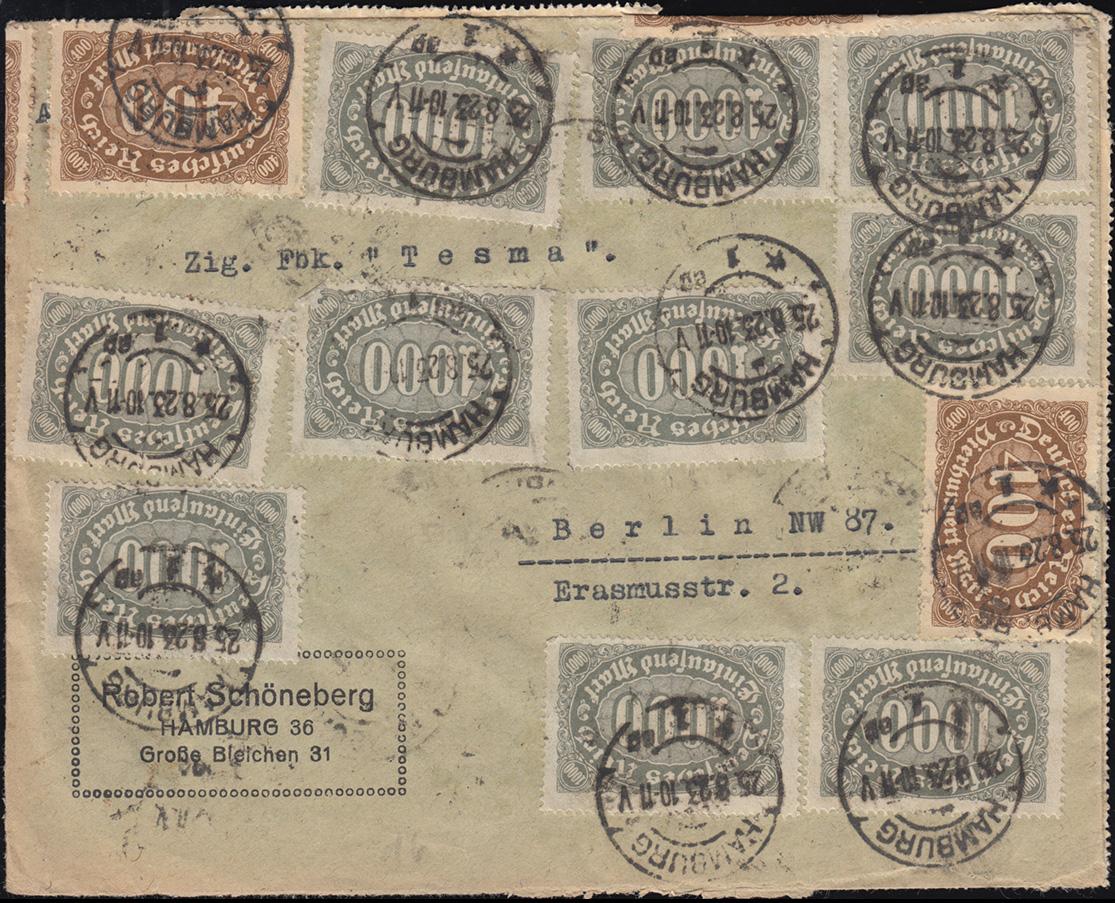 250+252 Infla-Mischfrankatur vorder- und rückseitig auf Brief HAMBURG 25.8.23
