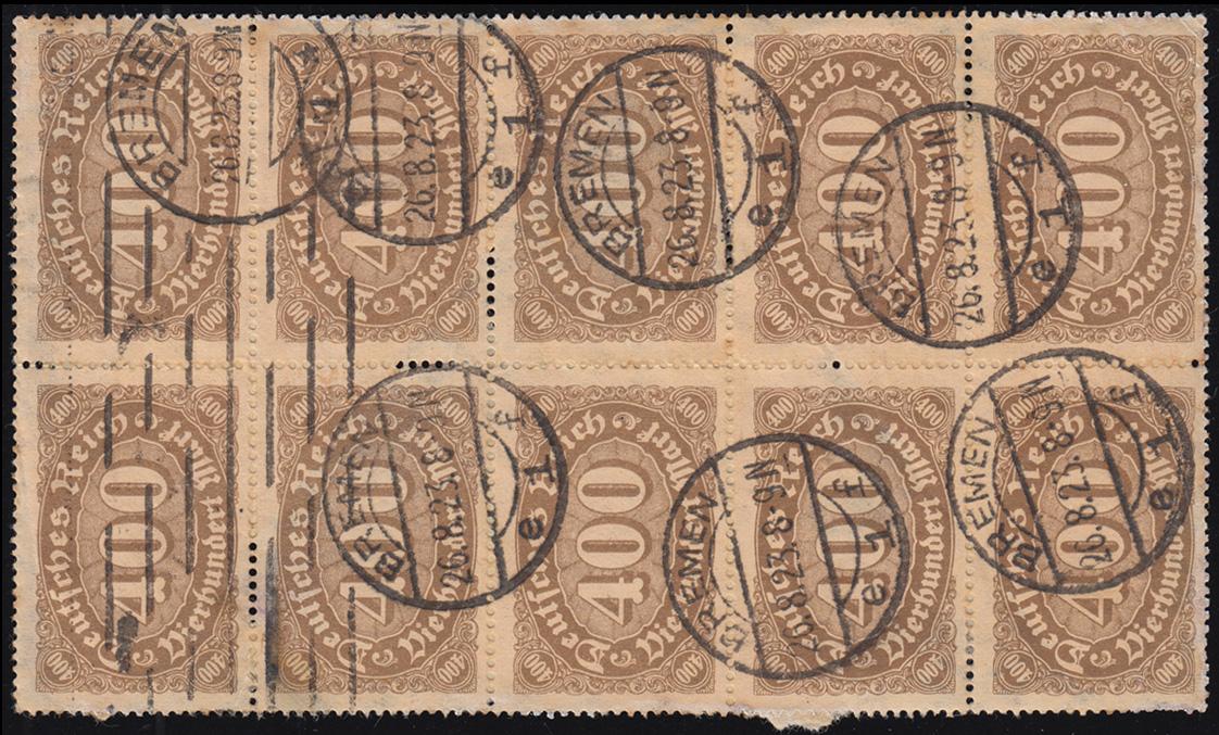 222 Infla Ziffer im Queroval 400 M mit WZ 1 Rauten als 10er-Block BREMEN 26.8.23