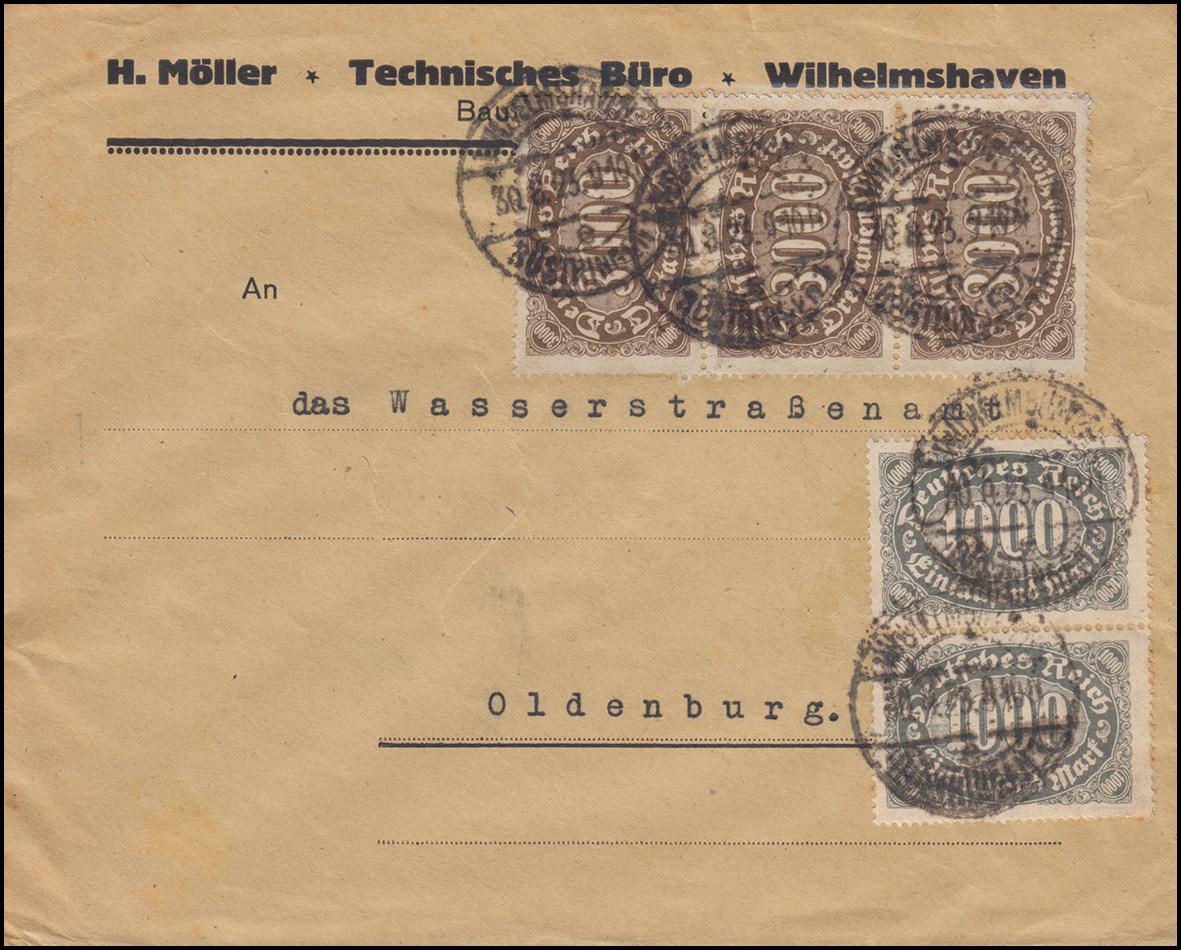 252+254 Infla-Mischfrankatur auf Brief WILHELMSHAVEN 30.8.23 nach Oldenburg