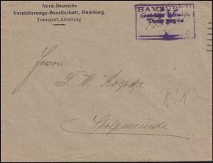 Infla-Notausgabe Gebühr-bezahlt-Stempel auf Brief HAMBURG September 1923