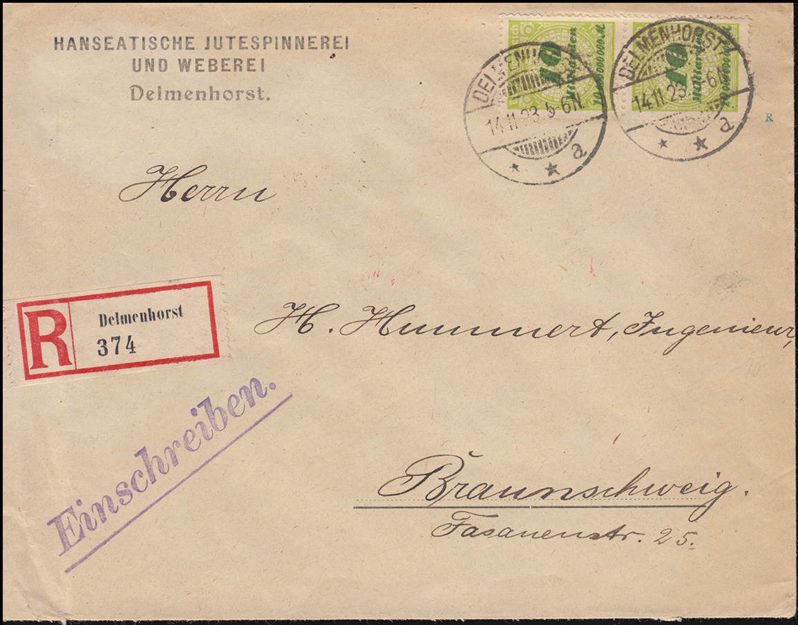 328AP Infla 10 Mrd M als MeF auf R-Brief DELMENHORST 14.11.23 nach BRAUNSCHWEIG