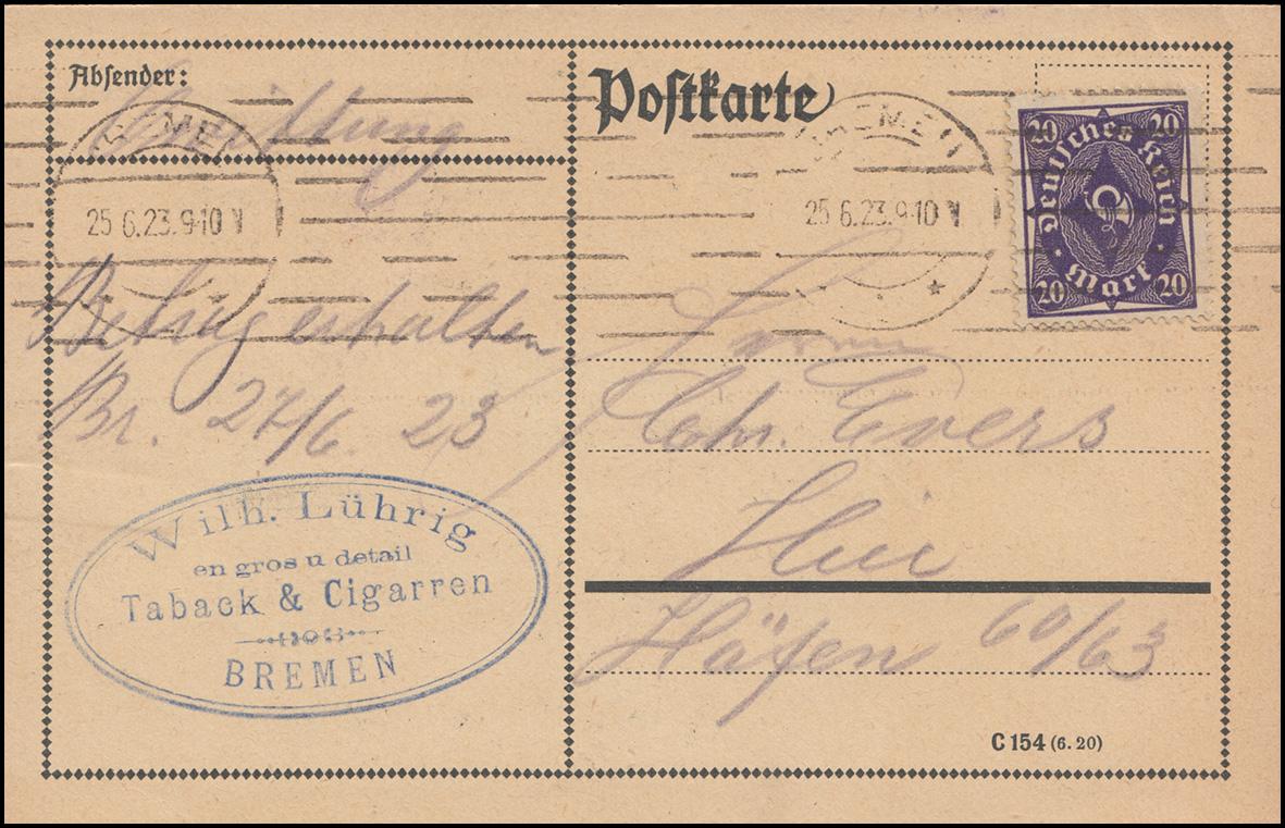 230 Posthorn 20 Mark als EF auf Orts-Postkarte Glasversicherung BREMEN 25.6.23
