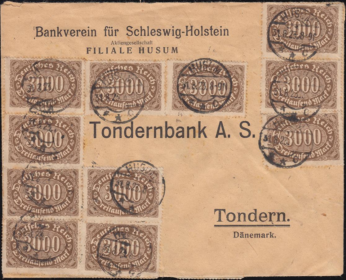 254 Infla 3000 M als MeF auf Auslands-Brief HUSUM 31.8.23 nach Tondern/Dänemark