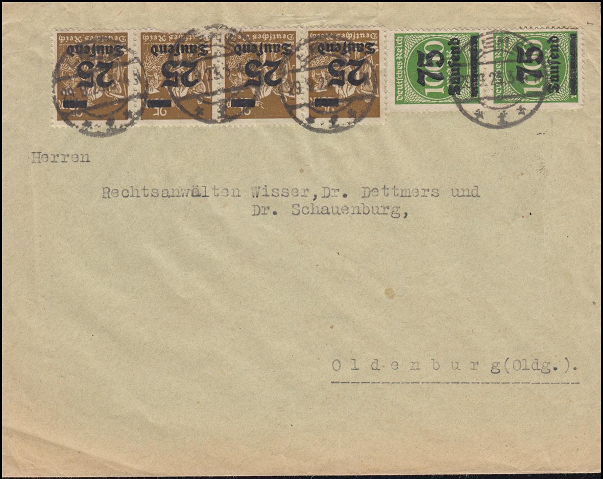 283+288I Infla-Mischfrankatur Brief BREMEN 29.9.23 nach Oldenburg, INFLA-geprüft