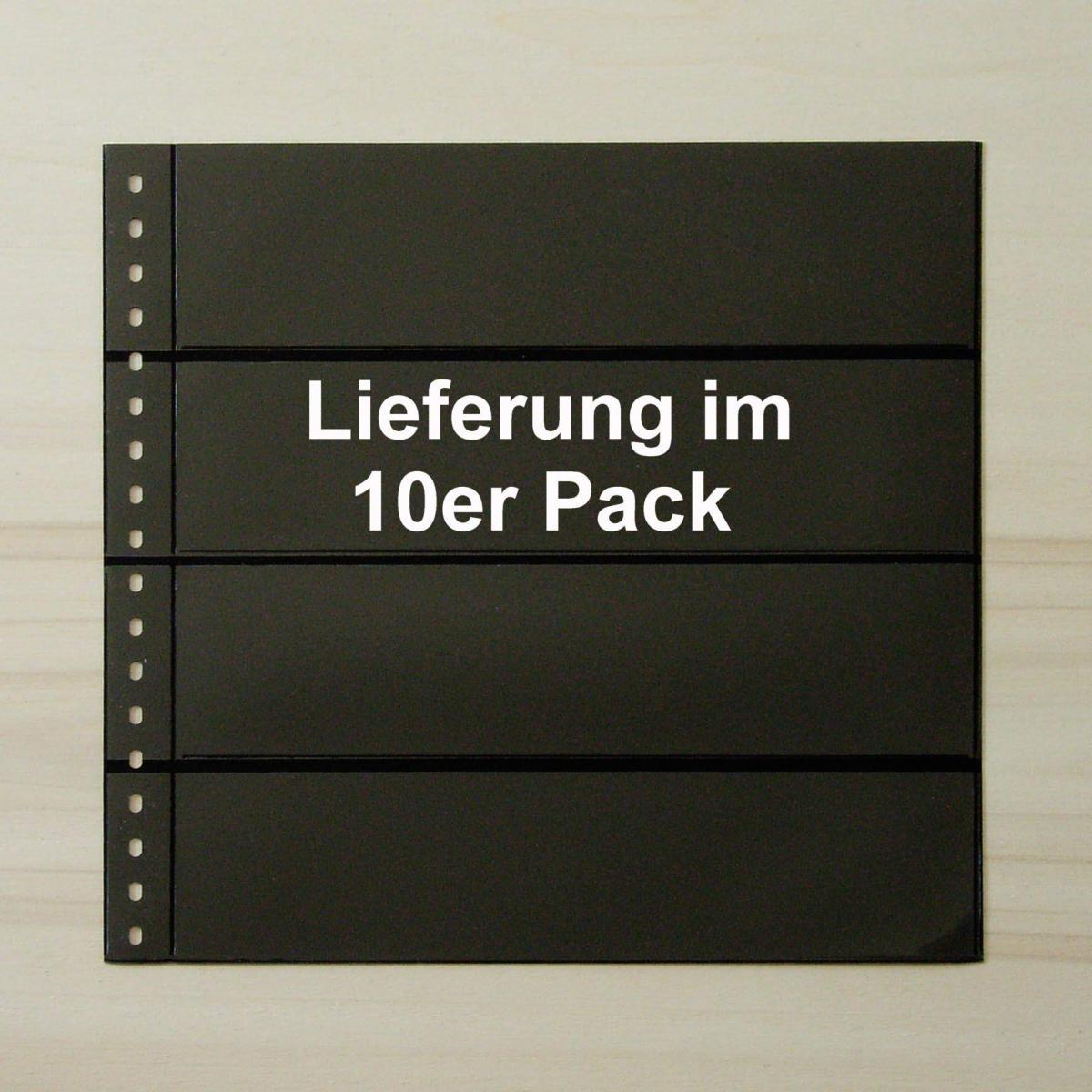 LINDNER Omnia Einsteckblatt 04 schwarz 4 Streifen - 10er-Packung