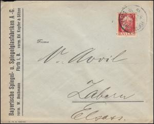 Bayern Firmenlochung BS auf 78II Luitpold Brief FÜRTH/BAY. 8.9.1913 nach Zabern