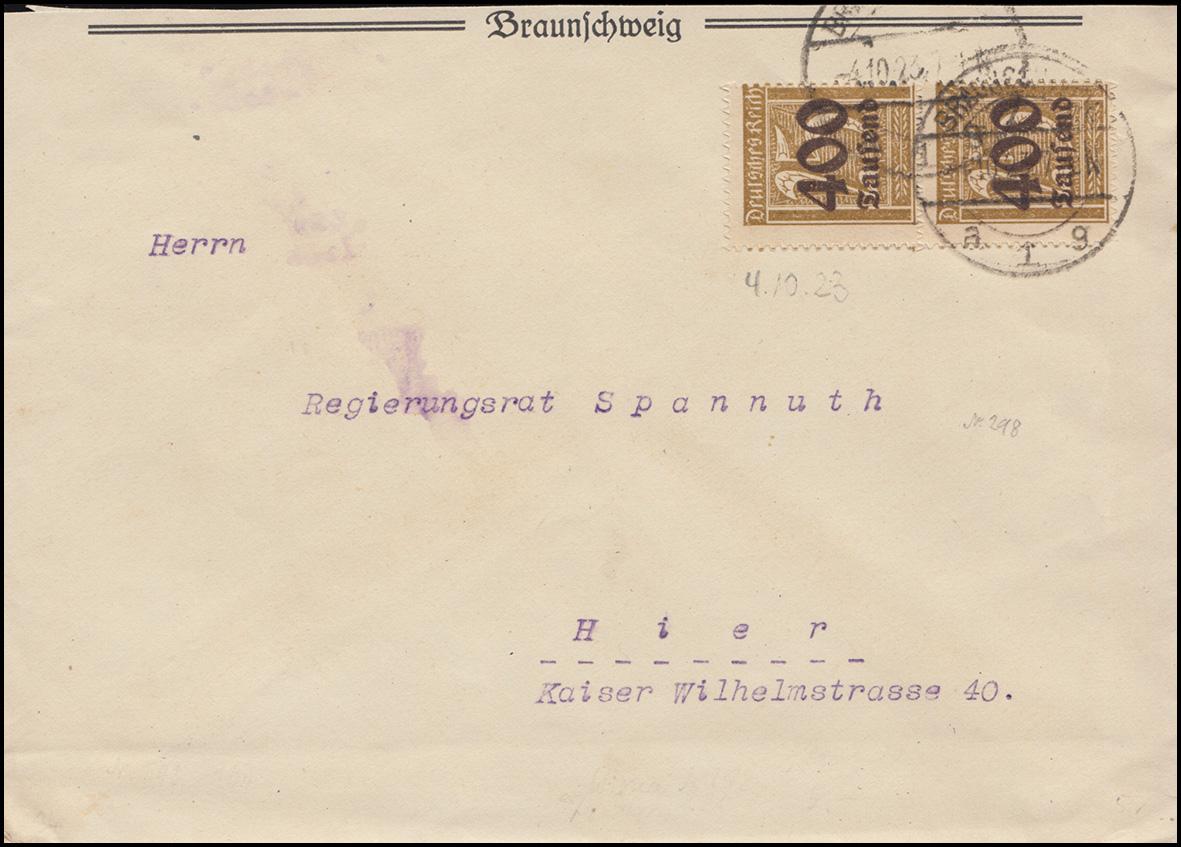 298 Infla 400 Tsd. auf 25 Pf als MeF auf Ort-Brief BRAUNSCHWEIG 4.10.23