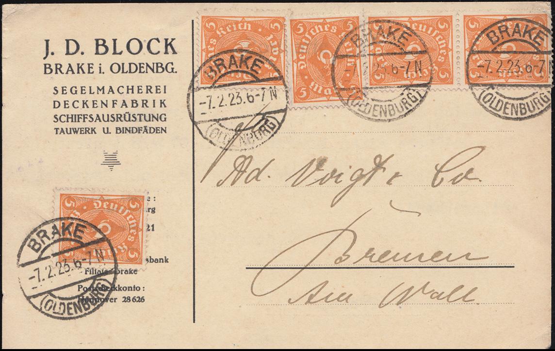 227a Posthorn 5 Mark als MeF auf Postkarte BRAKE (OLDENBURG) 7.2.23 nach Bremen
