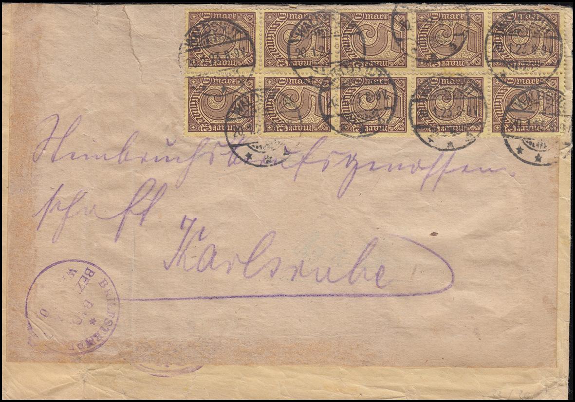33a Dienstmarke 5 Mark portogerechte MeF Brief WALDSHUT 20.1.23 nach Karlsruhe
