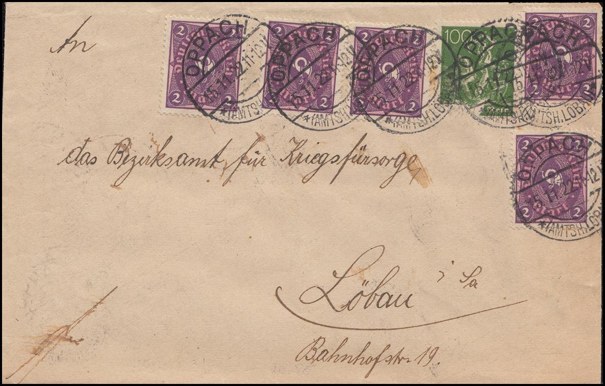 Infla-Brief mit 4 versch. Wertstufen als MiF auf Brief OPPACH 15.11.22 n. Löbau