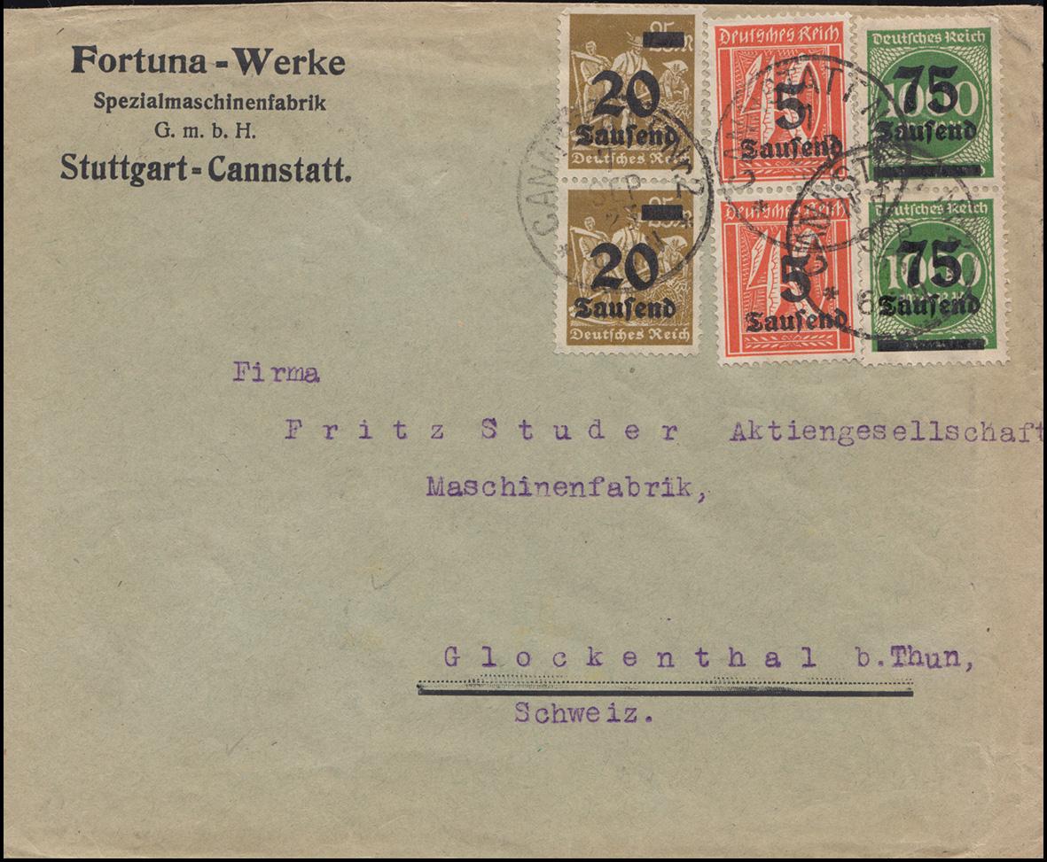 277+281+288I Infla-MiF auf Auslandsbrief CANNSTATT Nr. 2 - 7.9.23 in die Schweiz
